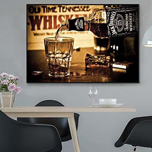 Bebidas de whisky, arte de pared e impresiones, moderno vino vertido, lienzo, pintura, Bar, Cuadros decorativos, arte de pared, carteles, decoración del hogar 30x45 CM (sin marco)