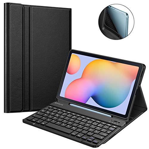Fintie Tastatur Hülle für Samsung Galaxy Tab S6 Lite 10,4 SM-P610/ P615 2020, Soft TPU Rückseite Gehäuse Schutzhülle mit S Pen Halter, magnetisch Abnehmbarer Tastatur mit QWERTZ Layout, Schwarz