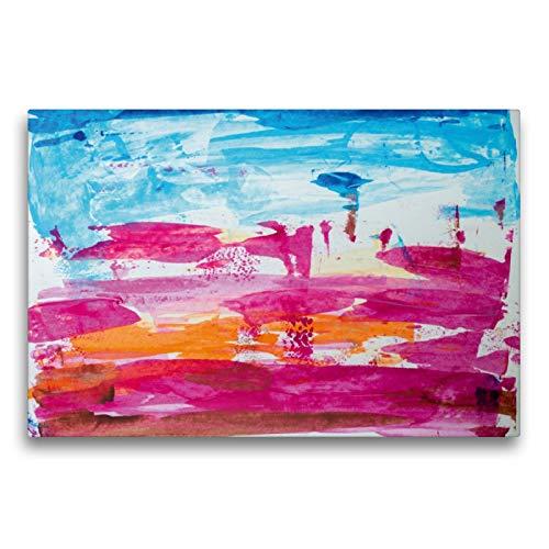 CALVENDO Premium Textil-Leinwand 75 x 50 cm Quer-Format Abstrakte Landschaft in Magenta, Acryl auf Papier, Leinwanddruck von Dag Irle