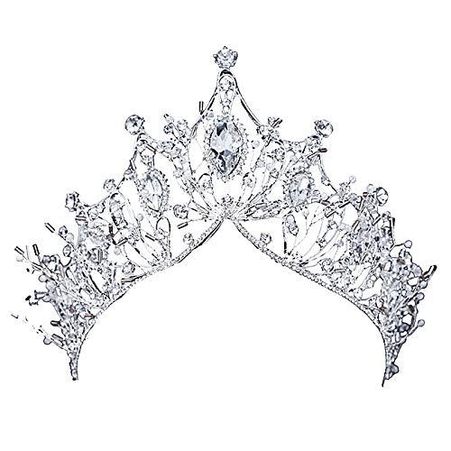 Monland Neue Grosse Barock Handgemachte Kristall Prinzessin Kronen Fuer K?nigin Strass Diademe Diadem Hochzeit Braut Haar Schmuck