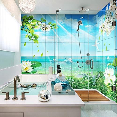 BLOUR Benutzerdefinierte Foto Tapete 3D frische romantische Swan Lake Badezimmer Hintergrund Wandbild Aufkleber PVC Selbstklebende wasserdichte Tapeten