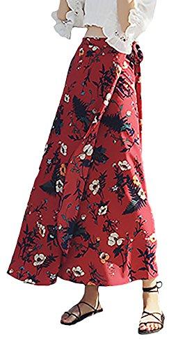Falda Maxi Mujer Elegantes Falda De Verano Patrón De Especial Estilo Flores Cintura Alta Strappy Faldas Beach...