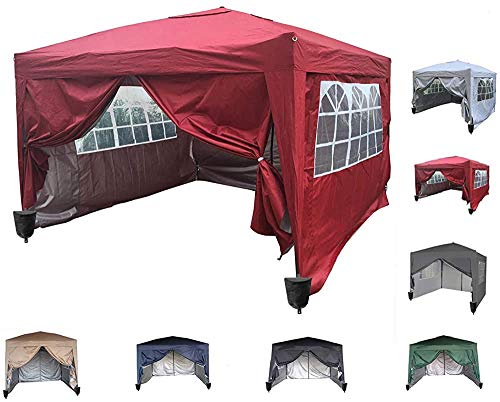 Pop-up Tent pergola Gazebo Pavilion Heavy Commercial Outdoor Gathering Real-time Anti-Canopy Tent 3x3m,Red