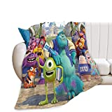 Monsters Inc Throw Blanket Super Soft Cozy Plush Microfiber Flannel Reversible TV Blanket, Home Decor Throws for Couch Sofa Bed Travel Version 50 X 40 Inch