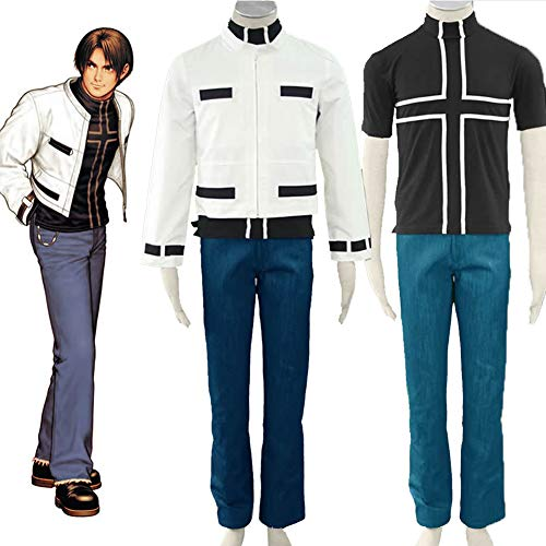 GGOODD The King of Fighters Kyo Kusanagi Abrigo De Uso Diario para Hombre + Camiseta + Jeans + Guantes Conjunto De 4 Piezas Disfraz De Cosplay,XXXL