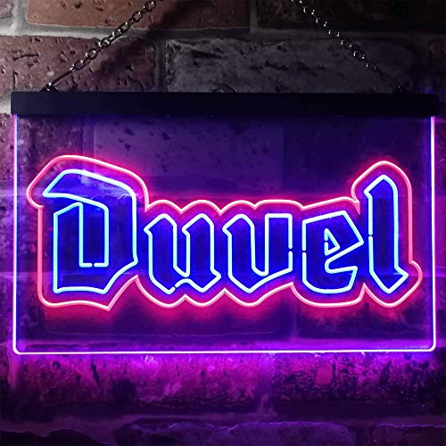 zusme Duvel Beer Home Bar Neuheit LED Neon Schild Rot + Blau W30 cm x H20 cm