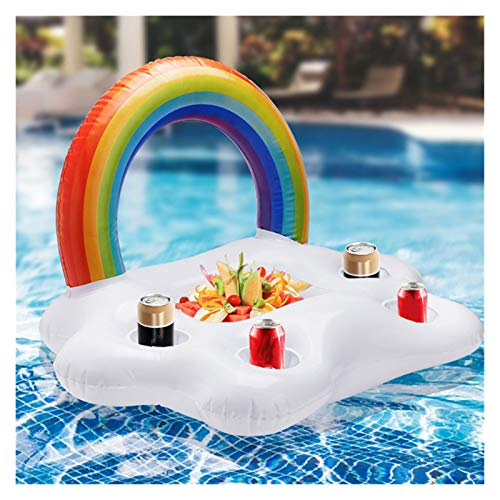 YGLONG Swim Ring Summer Party Bucket Rainbow Cloud Cup Holder Inflatable Pool Float Beer Drinking Cooler Table Bar Tray Beach Swimming Ring