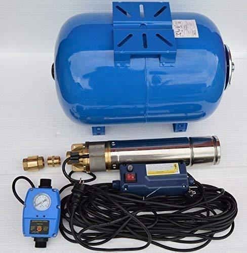 Hauswasserwerk mit Edelstahl Tiefbrunnenpumpe 50L + Steuerung Trockenlaufschutz