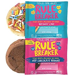 Rule Breaker Combo Packs, 4 Brownies & 4 Birthday Cake, Healthy and Unbelievably Delicious, Vegan, Gluten Free, Nut Free, Free from Top Eight Allergens, Kosher (2/4ct packs)