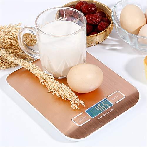 WLIXZ Digitale Küchenwaage, Multifunktions-Nahrungsmittelskala, £ / 5kg, Tara & Auto Off, LCD-Display,Rosegold,10kg