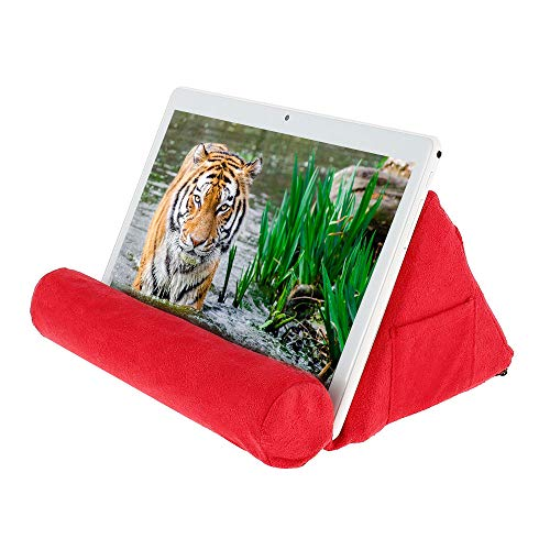 Tablet Pillow Stand with Pocket,Mini Tablet Computer Holder Sofa Fits up to 11' Pad, Multi-Angle Soft Tablet Pillow for Lap, Knee, Sofa and Bed for iPad Pro,Air Mini,eReaders,Book (Red)
