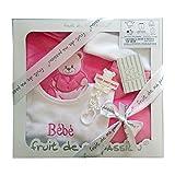 Bbkdom - Set de ropa para bebé recién nacido (5piezas de calidad, fabricación europea, talla de 0 a 3 meses, varios colores) rosa Coffret Rose/ Fille