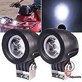 Biqing 2Pcs Faros Antiniebla Lámparas Auxiliares del LED,10W LED Luz de Trabajo Faros Delanteros Moto 2 inch Faro De Niebla Foco de la Motocicleta para Moto Off Road 4X4 ATV Camión Tractor Barco