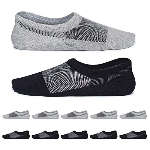 YouShow 10 Pares calcetines antideslizantes silicona bajos calcetin algodon verano unisex(Gris negro,43-46)