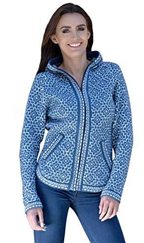 Gamboa - Alpaka Kapuzenjacke - Alpaka Pullover für Damen - hellblau und weiß - blau - Mittel