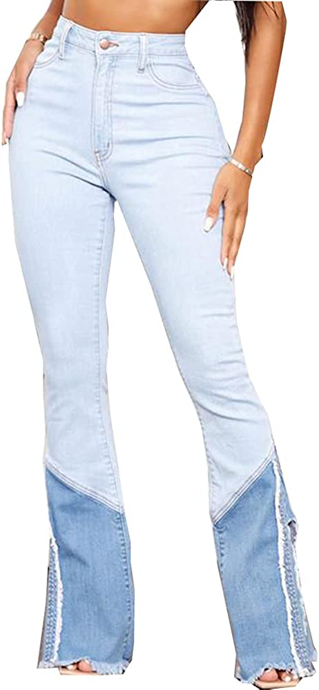 Max 58% OFF Bell Bottom Jeans for New product Women High Destr Waist Classic Ripped Hole
