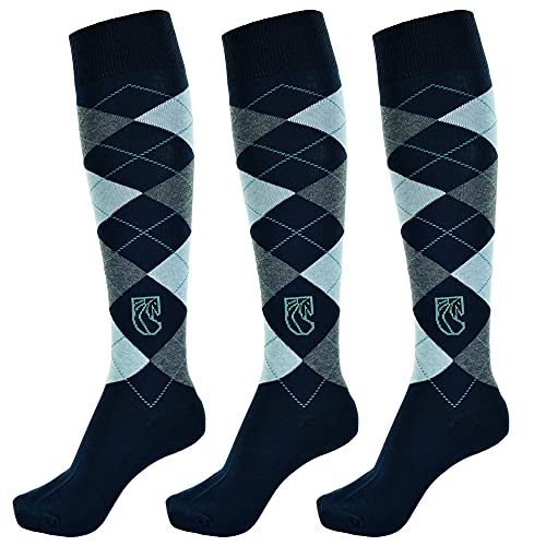 Pramoda 3 paia di calzini da equitazione donna cotone blu navy (36-39)