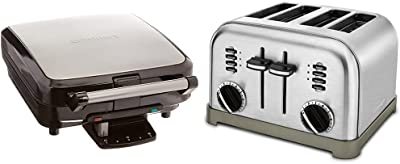Cuisinart WAF-150 4-Slice Belgian Maker Waffle Iron, Single, Silver & CPT-180P1 Metal Classic 4-Slice toaster, Brushed Stainless