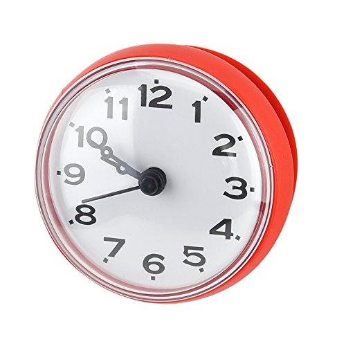 Impermeabile orologio con ventosa doccia tondo orologio quadrante digitale per bagno doccia bagno cucina di Arabica banduhr montaggio a parete, rot