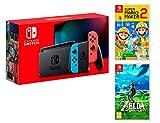 Nintendo Switch Rouge/Bleu Néon 32Go [Nouveau modèle ] Super Mario Maker 2 + The Legend of Zelda: Breath of the Wild