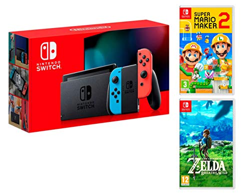 Nintendo Switch Rouge/Bleu Néon 32Go + Super Mario Maker 2 + The Legend of Zelda: Breath of the Wild