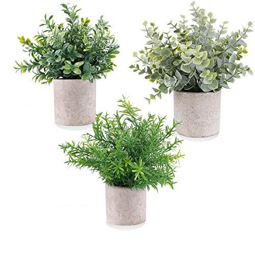 E-Bestar Künstliche Pflanzen im Topf Künstliche Pflanzen Gras im Topf Klein für Home Schreibtisch Küche Badezimmer Garden Deko(3 Pack)