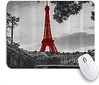 印刷されたマウスパッド赤いエッフェル塔ヴィンテージヨーロッパの都市パリ、ゲームプレーヤーのオフィスのための装飾的なマウスパッド、机の装飾、9.5x7.9インチ