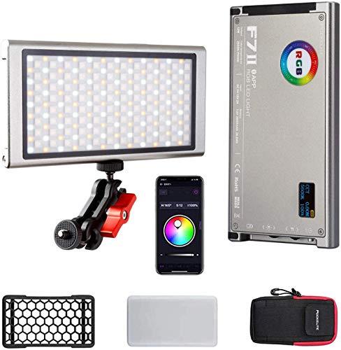 Falcon Eyes F7 II RGB LED luz de vídeo con control de aplicación, regulable 2500K-9000K HSI/LEE/ROSCO CRI96 LED luz de cámara con batería de 3800mAh bolsa difusora
