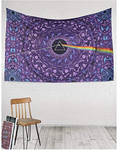 weilaike 3D Pink Floyd The Dark Side of The Moon Tapestry Letras Azul 150x200cm