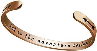 A New Journey Giift and So The Adventure Begins Cuff Bangle Bracelet Graduation, Going Away, Job Change, Teacher Gift