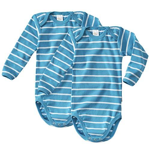 wellyou wellyou Doppelpack Baby Body - Kinder Body Langarm türkis-Weiss gestreift Größe 104-134