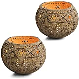 Mungowu Cuenco de coco para velas, soporte para velas, hecho a mano, cuenco para...