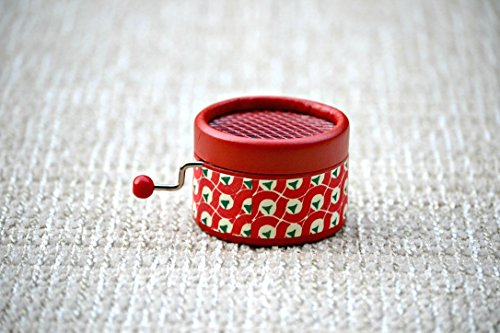Hand Cranked retro red music box with the song Imagine by the Beatle John Lennon in a gift packaging