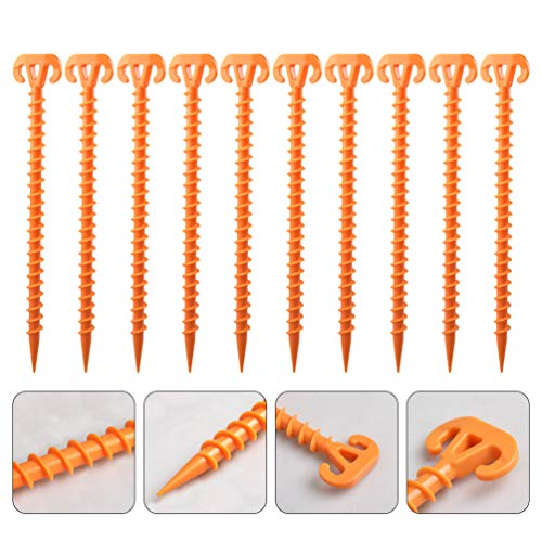 VOSAREA 10pcs Spiral Plastic Tent Stakes 28cm Windproof Tent Pegs Camping Screw