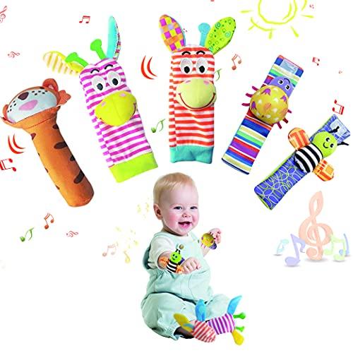 Yeelan Juguete Sonajero para Bebé,5PCS Calcetines de Sonajero para Bebé, Sonajeros de Muñeca,Juego de Juguetes Educativos para el pie con Correa Ajustable para Regalo 0-12 Meses Recién Nacido