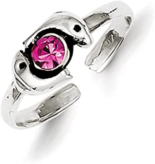 Lex & Lu Sterling Silver Antiqued Pink CZ Dolphin Toe Ring