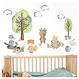 Little Deco Wandtattoo Waldtiere mit Bäume Pilze und Gras I L - 197 x 109 cm (BxH) I Wandsticker Babyzimmer selbstklebend Wandaufkleber Kinderzimmer Junge DL458