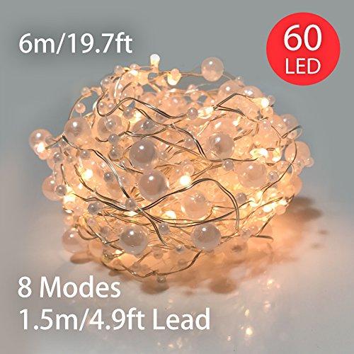 XEMQENER 60 LED Lichterketten 6M Perlen Lichterkette Stimmungsbeleuchtung Batteriebetrieben mit 8 Lichtmodi & Timer Innenbeleuchtung für Weihnachten Hochzeit Hause Dekoration Warmweiß