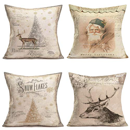 Qinqingo Throw Pillow Covers Christmas Winter Home Decorative Cotton Linen Vintage Background Christmas Tree Snowflakes Santa Claus Elk Throw Pillow Case Cushion Cover for Sofa Couch 18
