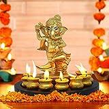 TIED RIBBONS Estatua De Lord Ganesha con Vela Matki Y Bandeja De Madera para La Decoración De La Sala De Estar De La Casa (17 Cm X 19 Cm)  Dorado Estándar