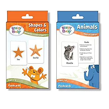 Brainy Baby Animals Flashcards and Shapes & Colors Flashcards Deluxe Edition Set of 2