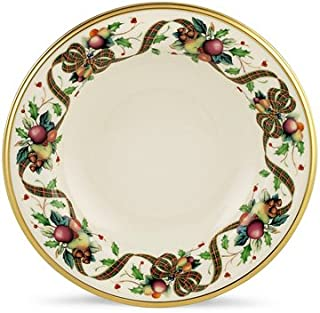 Lenox Holiday Tartan Gold Banded Ivory China Pasta Bowl/Rim Soup