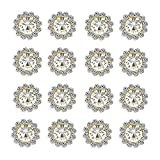 50 pcs Rhinestone Embellishments Crystal Button Silver Flatback DIY Craft for Flower Headband Dress Decoration Accessory 12mm (Silver Back Rhinestone)