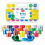DACO Kids Paint Set Brillia, Kids Art Set with 25 Bright Colors Includes Neon and Metallic Tempera Paint 0.7 fl.oz/20ml, with Storage Box, Washable Paint for Kids, School Paint Supplies, Finger Paint