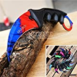 CSGO Karambit Advanced Tactical Knife Survival Knife Hunting Knife Fixed Blade Knife Razor Sharp Edge Camping Accessories Camping Gear Survival Kit Survival Gear 51763 (Marble Fade)