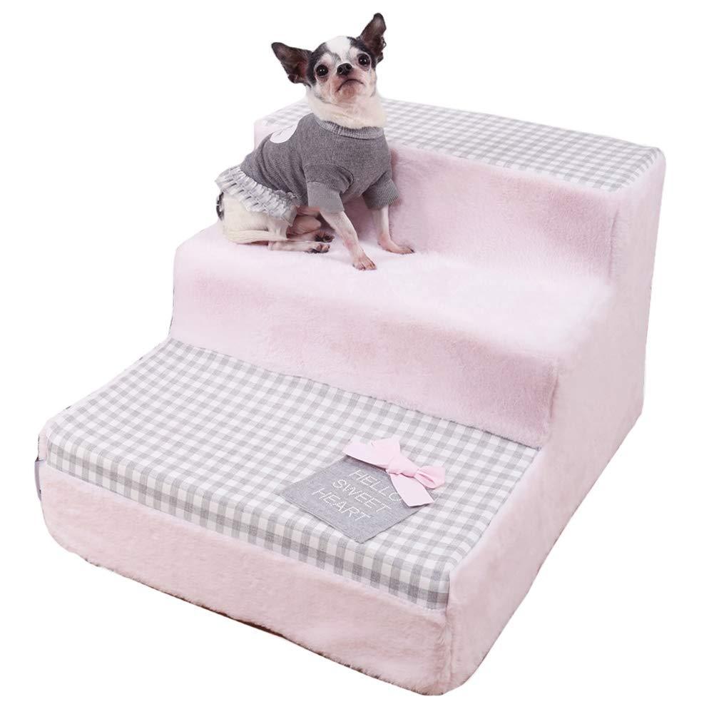 LXLA - escalera para perros de pequeño a Mediano, Mascotas, 3 Pasos for Mascotas Escalera Cama for Perros y Gatos de hasta 20 Libras (Rosa): Amazon.es: Hogar