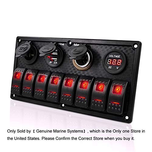 8 Gang Marine Switch Panel Waterproof - Red Indicator Switches, Cigarette Lighter Socket with Lighter, Digital Voltmeter Display, Dual 5V USB Charger Socket, DC 12V Slot, Used on Boat RV Truck Bus