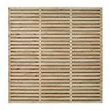 Image of Forest Garden Forest Fence, 6ft Double Slatted Panel