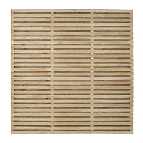 Forest Garden Forest Fence, 6 ft Double Slatted Panel, (Pack of 4)