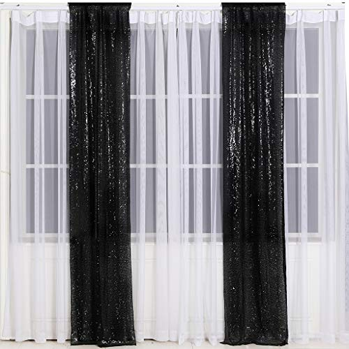 Eternal Beauty Glitter Sequin Backdrop Curtains for Wedding Party Decor, Sequence Christmas Backdrop Curtain (2 Pack, W2 x H8FT,Black)